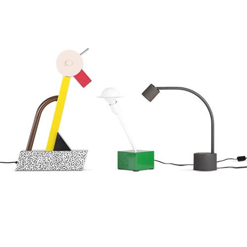 Left: Tahiti, table lamp, 1981, Manufacturer: Memphis Middle: Nr. 20084, Don, table lamp, 1977, Manufacturer: Stilnovo spa Right: Halo Click, table lamp, approx. 1988, Manufacturer: Philips (photo: Jürgen Hans)