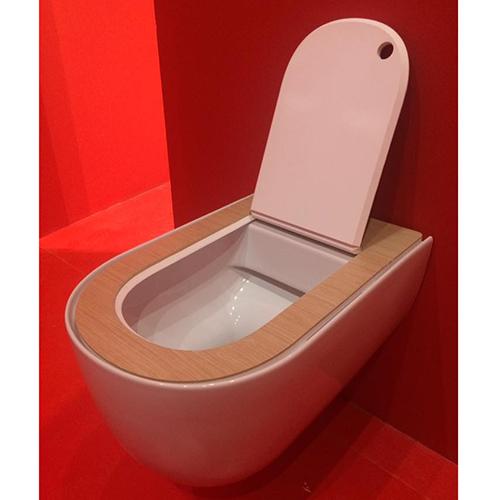 Settore arredo bagno - The One di Art Ceram: la prima serie di sanitari a bordo fine, una tecnica innovativa per le cerniere delle coperture; estremamente sottile è pratico ed elegante