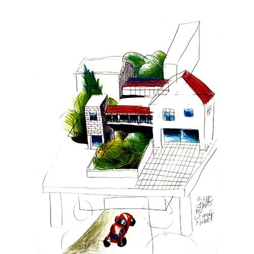 Casa Olabuenaga in uno dei disegni del progetto, di pugno di Sottsass