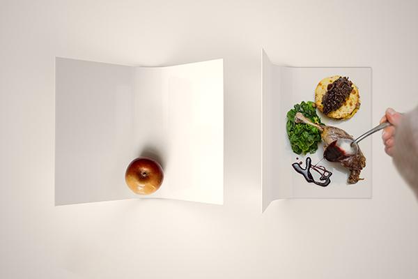 FOODgrammer plate di Nine associati: è una linea di piatti in fibra di legno e pigmenti per uso alimentare. Grazie alla sua forma, il piatto può essere ruotato e trasformato in un piccolo set fotografico per i foodgrammer