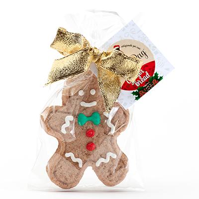 """Un regalo goloso e a tema natalizio per i vostri amici a quattro zampe: è di <a href=""""http://www.doggyebag.it/"""">DoggyeBag</a> il biscotto prodotto con farina di grano tenero, burro, uova, fruttosio, miele, zenzero e cannella. Prezzo 5,50 euro"""