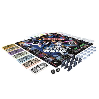 """Edizione speciale di <a href=""""https://www.hasbro.com"""">Monopoly</a> per i 40 anni di Star Wars. I ribelli sfidano l'Impero per la conquista dell'universo. Prezzo 46,90 euro"""