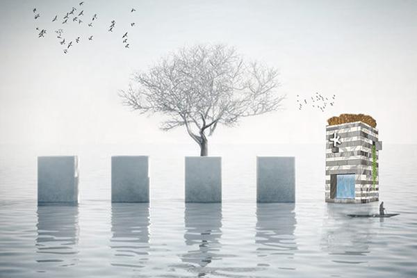 The Fountain Tower di Aldo Cibic con Cibicworkshop per Errebi Marmi