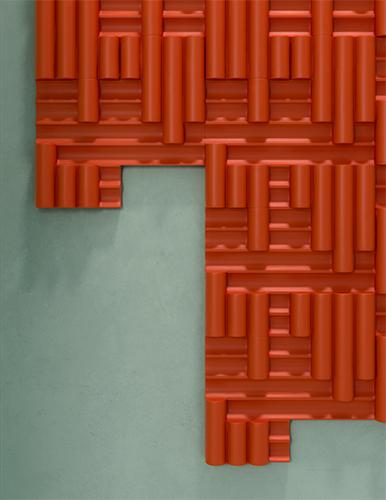 <em>Rilievi</em> gioca sulla ripetizione modulare di un elemento tridimensionale in configurazioni sempre variabili: una progettualità che combina forme e tonalità differenti su grandi lastre ceramiche di diversi colori, nell'ottica della massima libertà di personalizzazione