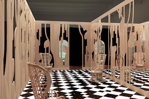Lo spazio di India Mahdavi per la mostra Imaginary Architecture, un giardino d'inverno astratto in rattan intarsiato, realizzato dagli artigiani di Rattan Deco con sede a Valencia (foto Studio India Mahdavi)