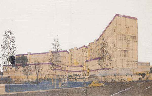 Carlo Aymonino, Complesso Monte Amiata quartiere gallaratese, Milano. Veduta prospettica, 1967-1970, china e collage su carta pergamena leggera, 570 x 745 millimetri