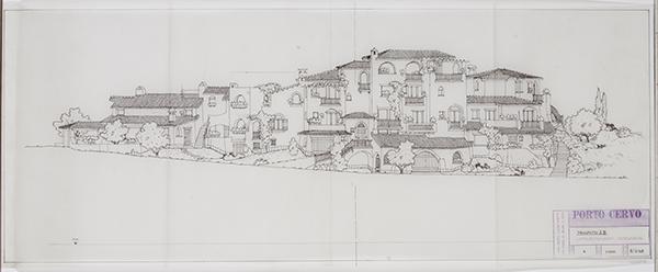 Luigi Vietti, Porto Cervo. Prospetto AB Appartamento Varuggio, 1968, China su lucido, 30,5 x 77 centimetri
