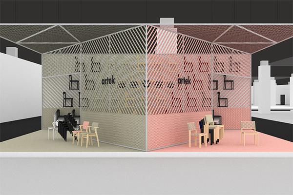 """Lo stand di <a href=""""https://www.artek.fi/en"""">Artek</a> (nella foto) accoglie l'<em>Atelier Chair</em>, la leggerissima sedia disegnata da TAF Studio per il ristorante e l'auditorium del Nationalmuseum di Stoccolma, e due nuove riedizioni: la <em>Chair 611</em>, disegnata da Alvar Aalto nel 1929, verrà presentata con nuove finiture firmate da Hella Jongerius e la <em>Aslak Chair</em> di Ilmari Tapiovaara del 1958 (quest'ultima  sarà in vendita solo a partire dal 2019)"""