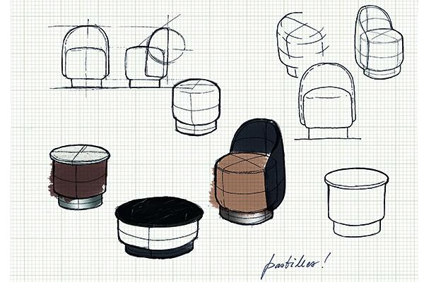 """Dalla collaborazione tra lo Studiopepe e <a href=""""http://www.tacchini.it"""">Tacchini</a> nasce <em>Pastilles</em>, una linea di poltroncine, pouf e tavolini, dalle forme morbide e avvolgenti progettata per il mercato contract"""