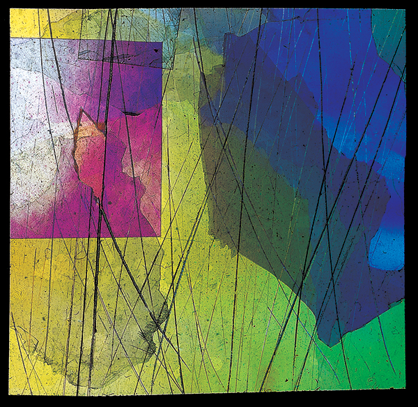 Vetrini a luce polarizzata 1953, materiali vari (courtesy Miroslava Hajek)