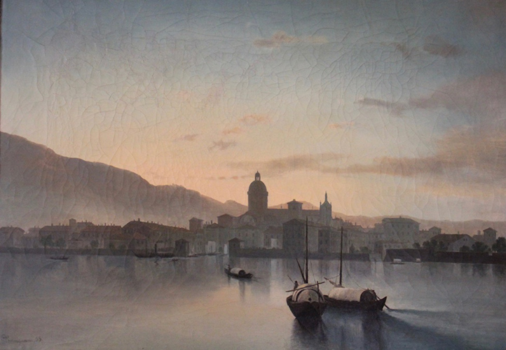 Gherardi - Dipinto ad olio su tela di Giulio Carmignani ( Parma 1813- 1890 ) di cm. 41x58 firmato e datato in basso a sinistra G. Carmignani 55 raffigurante una veduta della città di Como