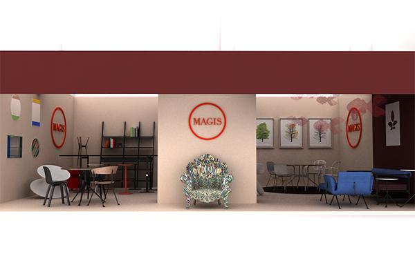 Magis espone una selezione di prodotti storici e le sue ultime novità  come il divano Brut di Konstantin Grcic e la collezione di tavoli Officina di Ronan e Erwan Bouroullec