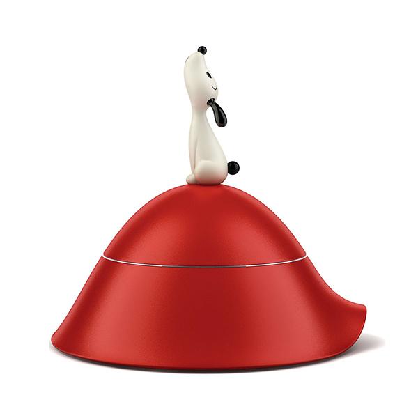 """Si chiama <em>Lulà</em> la ciotola per cani con coperchio in resina termoplastica disegnata da Miriam Mirri per <a href=""""http://www.alessi.com"""">Alessi</a> (prezzo 64 euro)"""