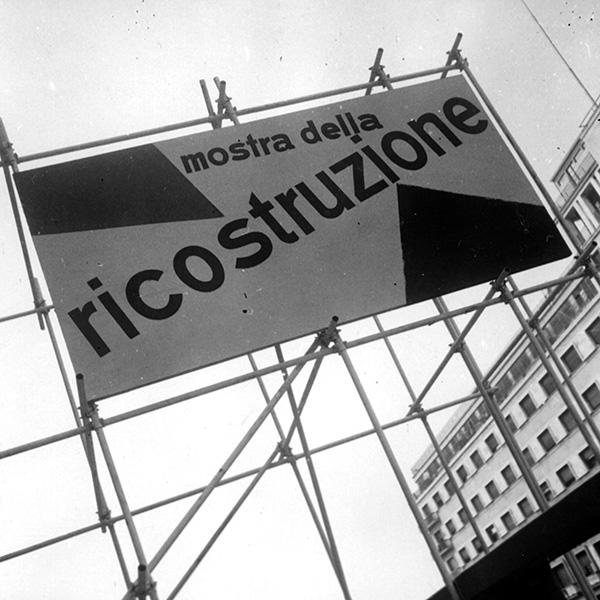 Milano, mostra della Ricostruzione all'ex-Arengario, 1945