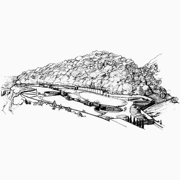 Vajont 1963, Veduta prospettica del cimitero di Longarone di G.Avon, M. Zanuso, F. Tentori, 1970-71