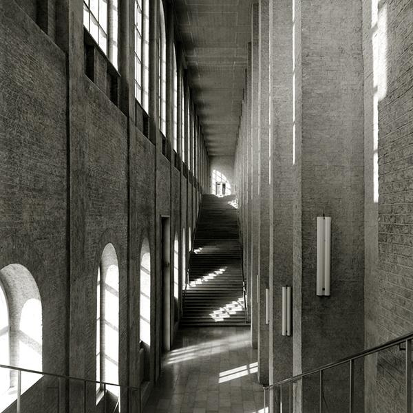 Germania 1945, interno della Altes Pinakoteke di Monaco ricostruita da H. Döllgast