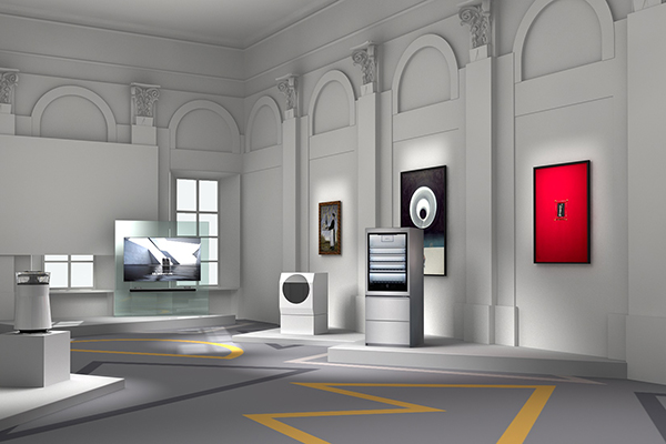L'allestimento della mostra  <em>LG Signature Artweek 2018</em> a Mosca