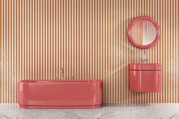 La vasca Plouf, il lavandino Splash e lo specchio Wow di India Mahdavi per Bisazza Bagno presentati al Salone del Mobile 2018