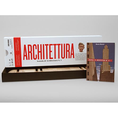 """Torna la <em>Scatola di architettura MC n.1</em> (<a href=""""http://www.corraini.com"""">Corraini</a>, 65 euro) il gioco in scatola realizzato nel 1945 da Bruno Munari. Dedicata ai più piccoli, la confezione contiene una serie di pezzi in diverse forme di legno di faggio con i quali si possono costruire diversi edifici e palazzi. Al suo interno anche un libretto con più di sessanta esempi moltiplicabili dalla fantasia di chi gioca"""