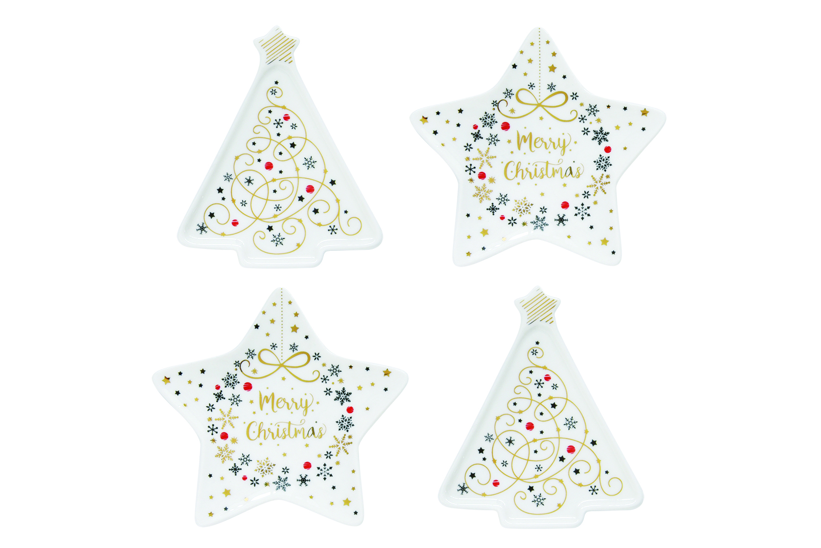 """Piattini poggia bustina té e tisane in porcellana con con festosi motivi natalizi di <a href=""""http://www.easylifedesign.it/"""">Easy Life</a> (12 euro 4 pezzi)"""
