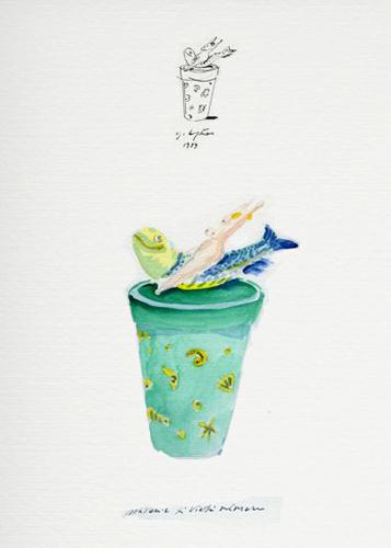 Ugo La Pietra, Souvenir di Vietri sul mare, 1989, acquarello e china su carta, cm 35x25
