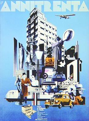 Il manifesto della mostra <em>Gli Anni Trenta, arte e cultura in Italia</em> (1982)