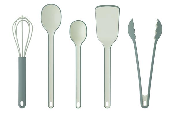 Colori pastello e forme morbide caratterizzano le novità presentate da Rig Tig, come per gli utensili Cook-It (distribuito da Schönhuber)