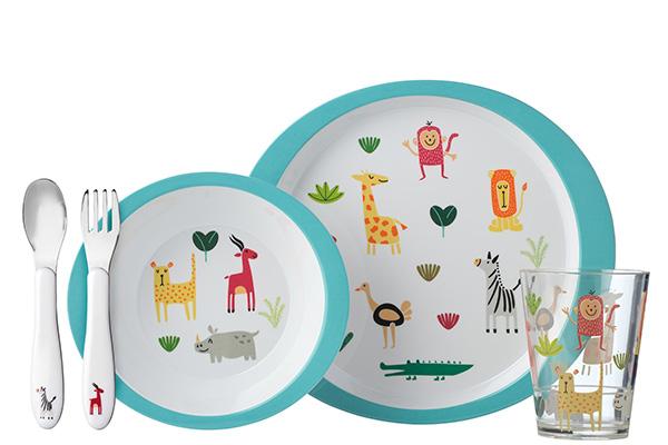Il set per la pappa di Mepal decorata con simpatici animali selvaggi (distribuito da Schönhuber)
