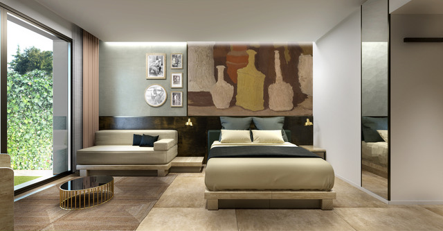 Irendering del progetto mostrano come sarà l'Hotel Eco di Fico Eataly World, qui un esempio di camera