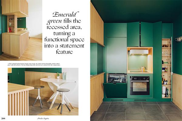 Un esempio di cucina compatta firmata dallo studio francese Atelier Sagitta (foto <em>Kitchen Living</em>, Gestalten 2019)