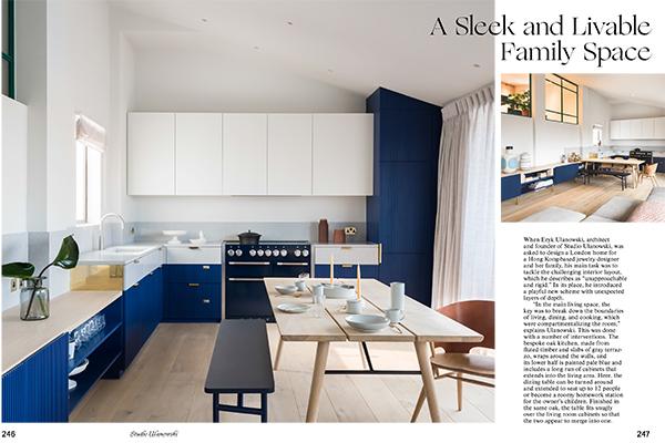 Eryk Ulanowski ha progettato una casa a Londra in cui i «la chiave era abbattere i confini di vivere, mangiare e cucinare», racconta. E così il tavolo da pranzo può ospitare fino a 12 persone o diventare un luogo spazioso per fare i compiti. Il tavolo poi  si adatta perfettamente ai mobili del soggiorno facendo sì che i due ambienti sembrano fondersi in uno solo (foto <em>Kitchen Living</em>, Gestalten 2019)