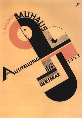 e, sotto, manifesto per l'esposizione del 1923 ideato da Joost Schmidt
