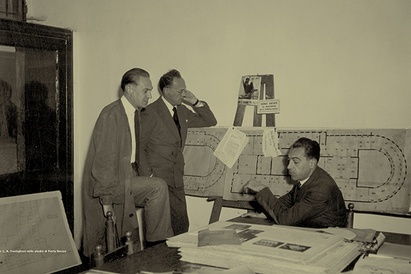 Achille, Livio e Pier Giacomo Castiglioni nel loro studio di Porta Nuova, 1957