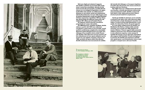 A sinistra Michele Provinciali, Achille Castiglioni, Dino Gavina  e Pier Giacomo Castiglioni con la nuova poltrona Sanluca, ripresi da Mauro Masera sotto l'omonimo portico, 1960