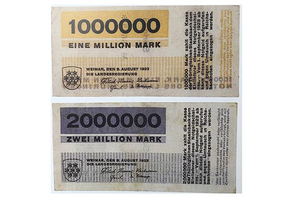 Banconota realizzata da Herbert Bayer che, lasciato il Bauhaus, sarebbe diventato direttore artistico di Vogue Berlino; il valore, un milione di marchi, esemplifica la devastante inflazione della Repubblica di Weimar negli anni Venti