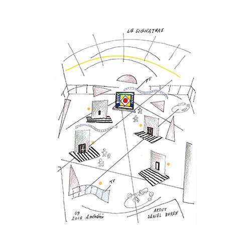 La collaborazione con Lg è tra i progetti più recenti realizzati da Alessandro Mendini. Qui l'ambientazione della mostra LG Signature Artweek 2018 nello schizzo del maestro