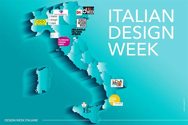 La mappa delle 12 design week sparse in Italia: Milano Design Week, Venice Design Week, Firenze Design Week, Bologna Design Week, Varese Design Week, Pordenone Design Week, Udine Design Week, Catanzaro Design Week, Matera Design Week, Forte dei Marmi Design Week, Palermo I-design, Torino Design Week (in fase di trasformazione)