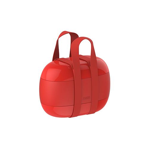 """Si porta proprio come una borsa illunch box <em>Food à porter</em> firmato <a href=""""http://www.alessi.com"""">Alessi</a>. Al suo interno ben tre contenitori (49 euro)"""