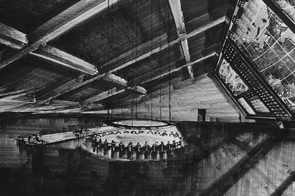 Bozza finale dello scenografo Ken Adam per la War Room de <em>Il dottor Stranamore</em> (foto Sir Kenneth Adam)