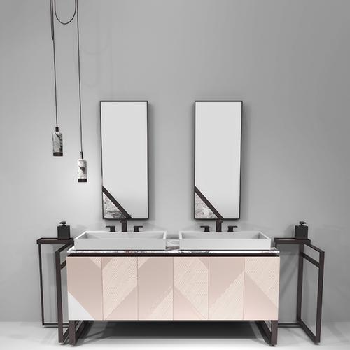 Volumi architettonici e decori geometrici per il bagno Harmony firmato da Alessandro La Spada per Visionnaire