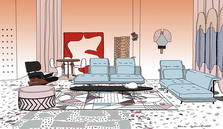 L'allestimento <em>Urban Living Milano</em> nell'illustrazione firmata dalla stessa Elena Salmistraro