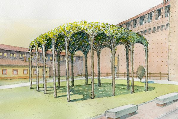 """Tra gli appuntamenti del Fuoriorticola da non perdere l'installazione-omaggio a <a href=""""https://design.repubblica.it/2019/05/13/leonardo-primo-designer/"""">Leonardo Da Vinci</a>:<strong><em>La Pergola dei gelsi</em></strong>al Castello Sforzesco si ispira all'affresco con i gelsi che ilgeniorinascimentale dipinse nel 1498 nella Sala delle Asse"""