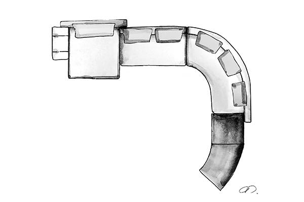 Il sistema di sedute Danielsnello schizzo diChristophe Delcourt