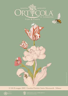 Lalocandina della XXIV edizione di Orticola, creata da Sofia Paravicini. Il disegno mostra untulipano e unapeonia, scelti perché sono due fiori in grado di vivere in armonia. Proprio come vuole insegnare il tema di questa edizione<em>Piante amiche. Le buone associazioni botaniche</em>