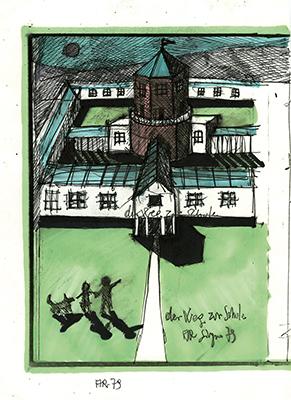 Aldo Rossi, Gianni Braghieri, Scuola media, Broni, 1979-1981 Aldo Rossi, Der Weg zu Shule, 1979 Collezione privata © Eredi Aldo Rossi, courtesy Fondazione Aldo Rossi