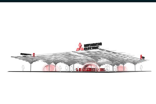 <em>Atmosphere</em> (categoria progettazione stand fieristico MCE 2020) è una grande struttura in legno che vuole ricreare l'atmosfera di una foresta fresca e ventilata per accogliere gli ospiti dell'azienda. Il progetto si è piazzato al quarto posto