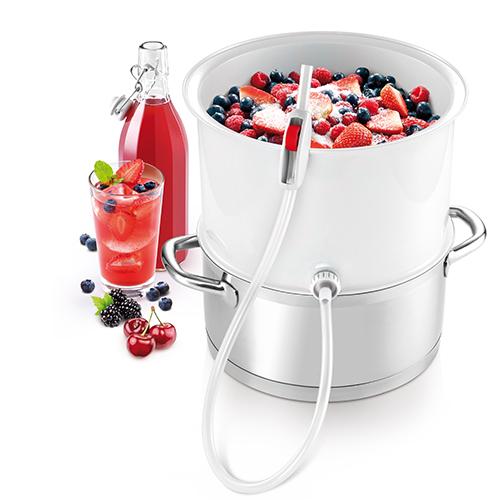 Grazie all'estrattore a vapore di Tescoma si possono preparare dagli sciroppi di frutta e verdura ai succhi naturali fino a gelatine e marmellate. Il tutto mantenendo intatto il gusto, il colore, l'aroma, i sali minerali e le vitamine