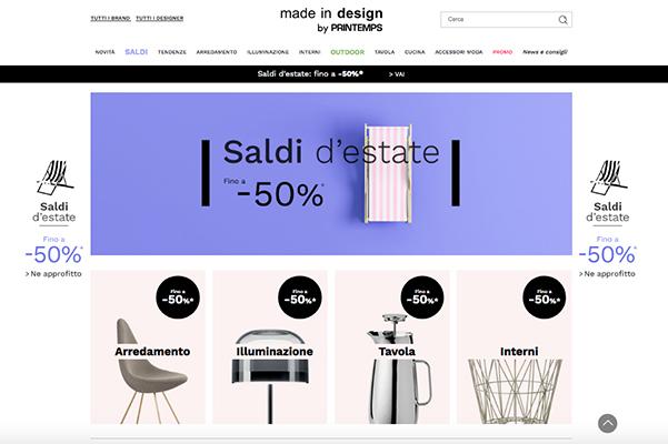 """Fino al 17 luglio<a href=""""http://www.madeindesign.it/"""">Made in design</a>offre scontisu una selezione di prodotti. I ribassiarrivano al -50%"""
