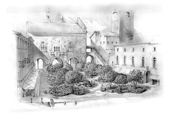 Il disegno del progetto di Giubbilei per l'installazione di piazza Vecchia