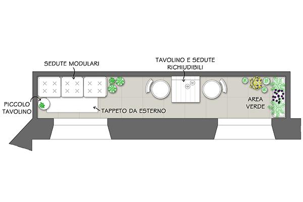 Nel progetto firmato dal nostro architetto sono perfetti arredi di profondità ridotta e collocati in aree distinte per rilassarsi e mangiare, da completare con un angolo verde. A seguire alcuni esempi di mobili trasformabili e salvaspazio